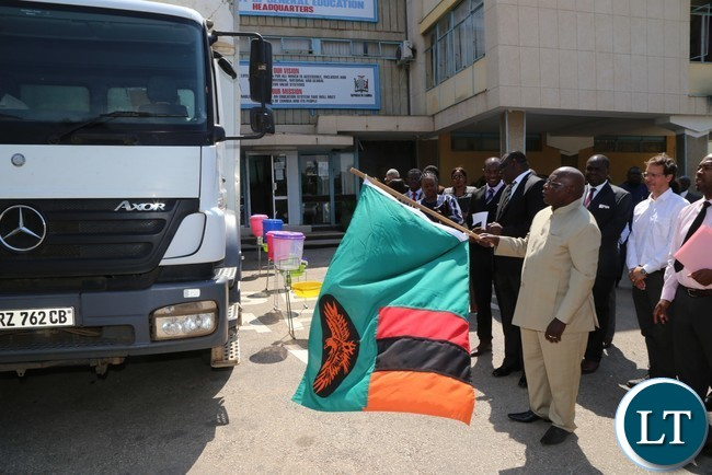 Minister of General Education Dennis Wanchinga flag off the distribution of water,sanitation and hygiene wash materials in Lusaka