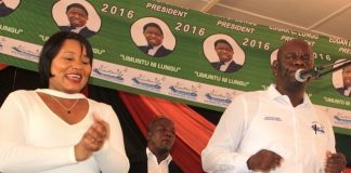 Patriotic Front Secretary General, Davis Mwila ( right) and Minister of Information and Broadcasting Services, Kampamba Mulenga, at the PF Mobilization meeting in Lufwanyama District