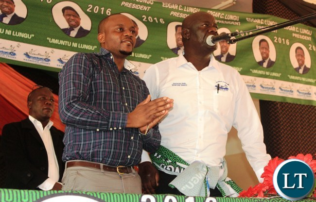 Patriotic Front Secretary General, Davis Mwila (right) introduces PF Media Deputy Director, Antonio Mwanza, to party members during the PF Mobilization meeting in Lufwanyama District