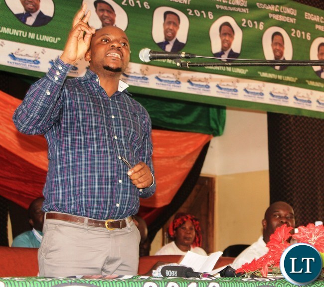 Patriotic Front Media Deputy Director addresses party members at the PF Mobilization meeting in Lufwanyama District