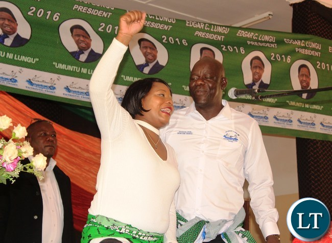PF Secretary General, Davis Mwila (right) and Minister of Information and Broadcasting Services, Kampamba Mulenga, address party members at the PF Mobilization meeting in Lufwanyama District