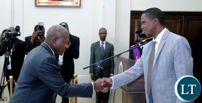 President Edgar Chagwa Lungu (right) congratulates  Zambia's High Commissioner to Australia Frank Francis Bwalya at State House in Lusaka on Friday,2 FEBRUARY,2018 during the swearing-in-ceremony.. PICTURE BY SALIM HENRY/STATE HOUSE ©2018