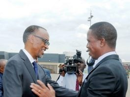 President Edgar Chagwa Lungu (right) being welcomed by his Rwandan Counterpart Paul Kagame at Kigali International Airport in Rwanda on Wednesday,February 21,2018. PICTURE BY SALIM HENRY/STATE HOUSE ©2018