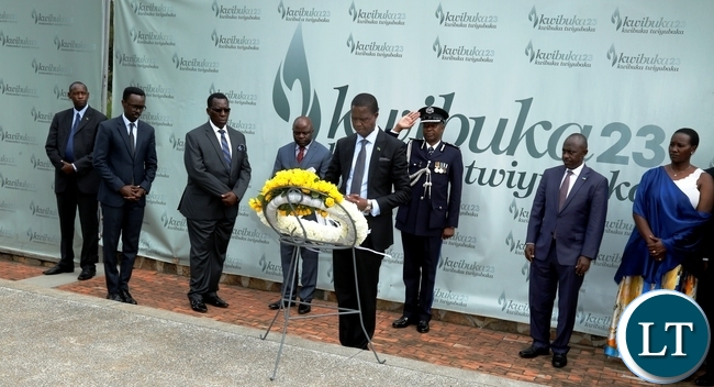 President Edgar Chagwa Lungu (centre) lays wreaths and Gisozi Genocide Memorial Site in Kigali,Rwanda on Wednesday,February 21,2018. PICTURE BY SALIM HENRY/STATE HOUSE ©2018