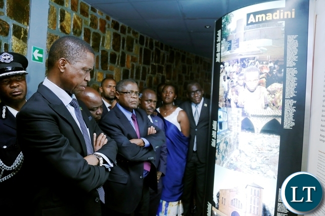 President Edgar Chagwa Lungu (left) accompanied by Minister of Commerce, Trade and Industry Christopher Yaluma tours Gisozi Genocide Memorial Site in Kigali,Rwanda on Wednesday,February 21,2018. PICTURE BY SALIM HENRY/STATE HOUSE ©2018