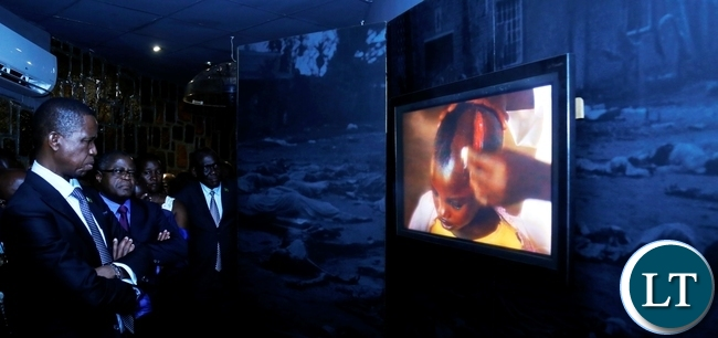 President Edgar Chagwa Lungu being shown some of the images of the 1994 Genocide at Gisozi Genocide Memorial Site in Kigali,Rwanda on Wednesday,February 21,2018. PICTURE BY SALIM HENRY/STATE HOUSE ©2018