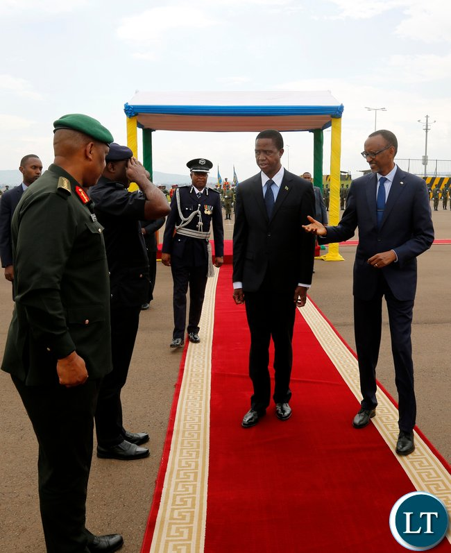 President Edgar Chagwa Lungu accompanied by his Rwandan counterpart Paula Kagame bids farewell to Rwandan Service Chiefs at Kigali International Airport on Thursday,February 22,2018. PICTURE BY SALIM HENRY/STATE HOUSE ©2018