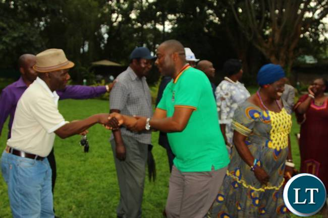 Mr Lusambo greets Senior Chief Chiwala after the end of the luncheon with Lamba Chiefs