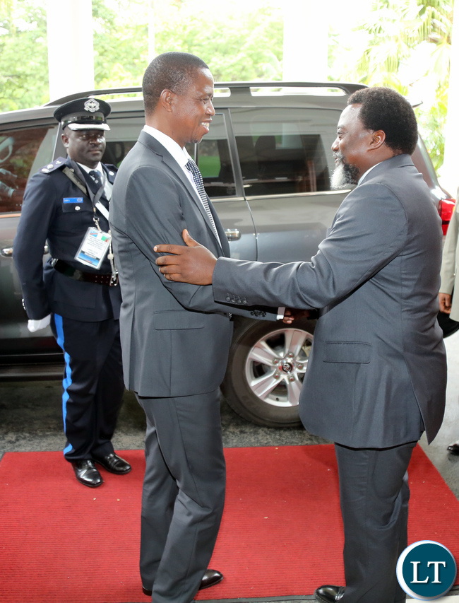 resident Edgar Lungu Welcomes President Joseph Kabila at State house For Official Talks