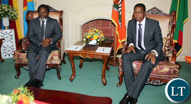 President Edgar Lungu with President Joseph Kabila at State house before the Official Talks