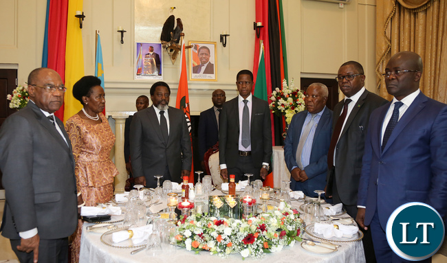 President Edgar Lungu with President Joseph Kabila at State house during State dinner