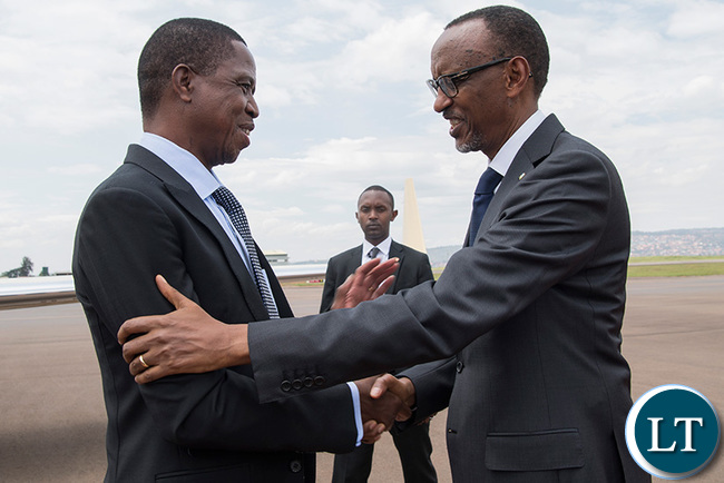 President Kagame welcomes President Lungu on the Zambian leader's arrival at Kigali International Airport yesterday. (Village Urugwiro)