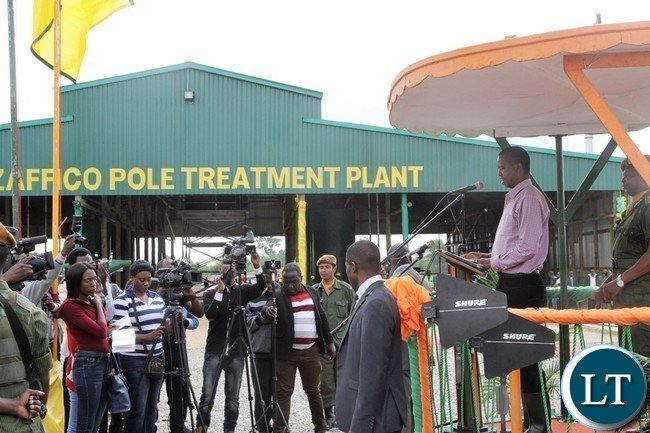 President Lungu commissioning the ZAFICO Pole treatment Plant in Kalulushi