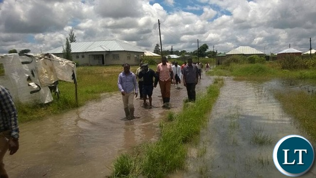 Central Province Permanent Secretary, Chanda Kabwe touring the flooded place