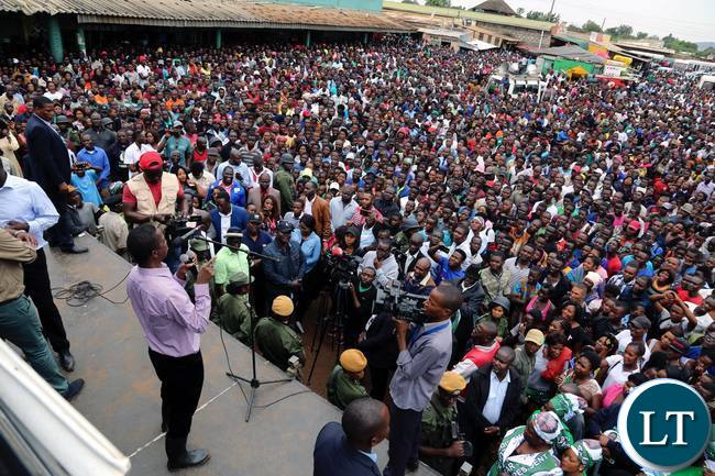 President Edgar Lungu (left) addresses people in Masala Township in Ndola on Friday, February 9,2018. PICTURE BY SALIM HENRY/STATE HOUSE ©2018