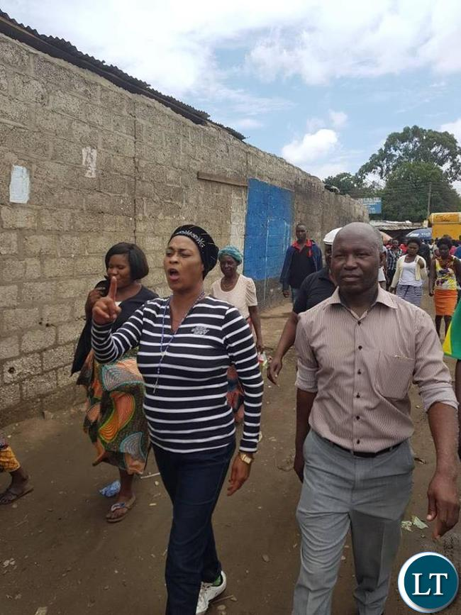 Deputy Secretary General Hon Mumbi Phiri today took time to visit Lusaka City Market and Soweto markets