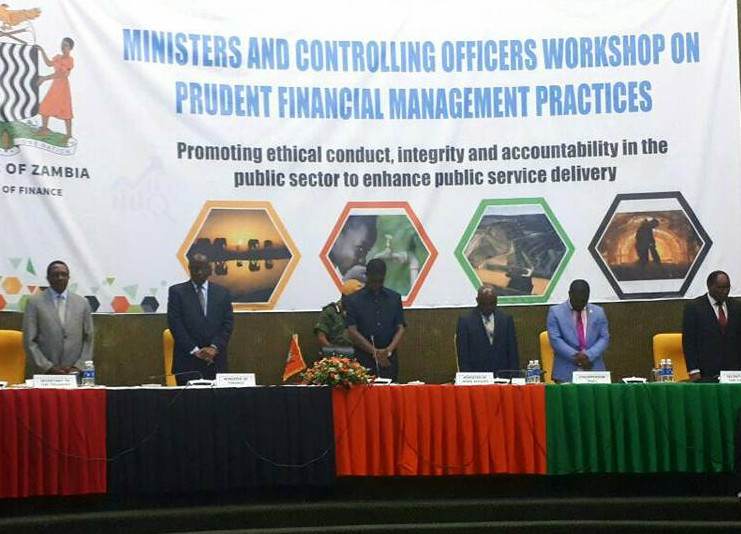 President Edgar Lungu at Mulungushi International Conference for the Official opening of Ministers and Controlling officers Workshop on Prudent Financial Management Practices  Theme: Promoting ethical conduct, Integrity and accountability in the public sector to enhance service delivery.