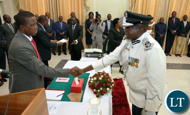 President Lungu swears in Mr Elias Chushi as Commissioner of Police for Luapula Province.