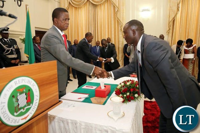 President Lungu swears in Richard Musukwa as Minister of Mines and Minerals development