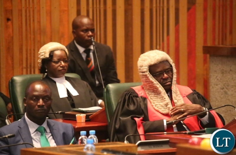 Speaker of National Assembly Dr. Patrick Matibeni (r) First Speaker of National Assembly Catherine Mugala and Mines Minister Richard Musukwa following the State of the Nation address at Parliament Buildings