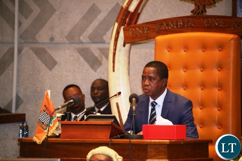 President Edgar Lungu delivers his speech during the State of the Nation address at Parliament Buildings