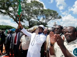 President Edgar Chagwa Lungu (centre) flags off the construction project during the ground breaking ceremony for the upgrading of the Maina Soko Medical Centre in Lusaka on Thursday,March 22,2018. PICTURE BY SALIM HENRY/STATE HOUSE ©2018