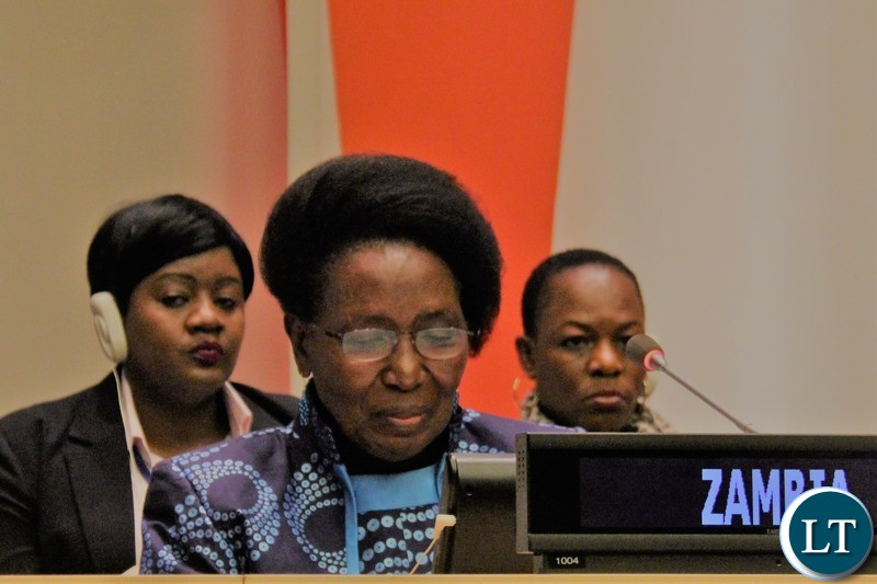 "Vice-President Inonge Wina making interventions at the High Level side event which was themed: ""Accelerating efforts to end female genital mutilation and child marriage by 2030."" at the United Nations (UN) in New York. Picture courtesy of Zambia Mission at the United Nations/WALLEN SIMWAKAVice-President Inonge Wina making interventions at the High Level side event which was themed: ""Accelerating efforts to end female genital mutilation and child marriage by 2030."" at the United Nations (UN) in New York. Picture courtesy of Zambia Mission at the United Nations/WALLEN SIMWAKA"