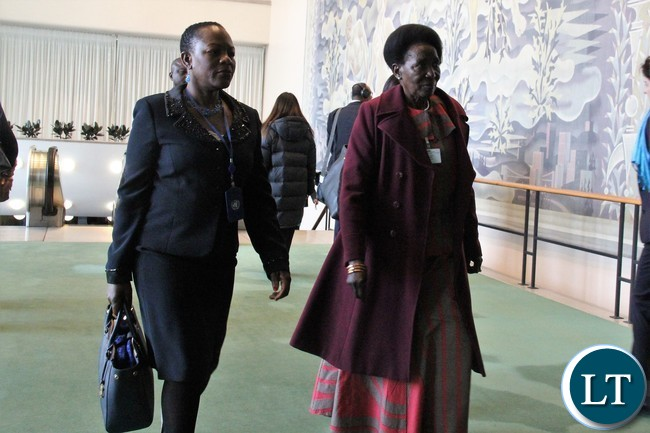 Mrs Inonge Mutukwa Wina (right), the Vice-President of the Republic of Zambia accompanied by Zambia's Deputy Permanent Eepresentative and Charge' d' Affairs Christine Kalamwina arriving at the United Nations (UN) Headquarters in New York for the 62nd Session of the Commission on the Status of Women (CSW) on Monday.