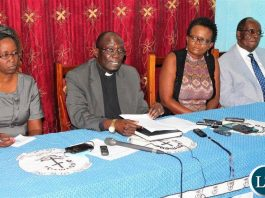 Members of the Civil Society during a news conference at Kapingila House in Lusaka