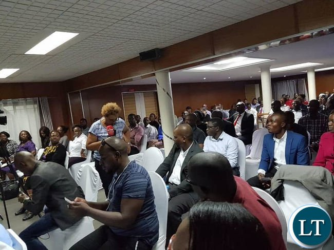 Members of the audience that attended the public discussion organized by the Oasis Forum in Lusaka on Tuesday evening