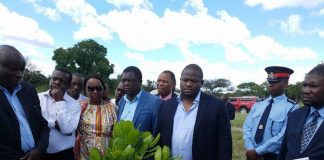 National Planning and Development Minister Alexander Chiteme inspects a cashew unit field looks in western province