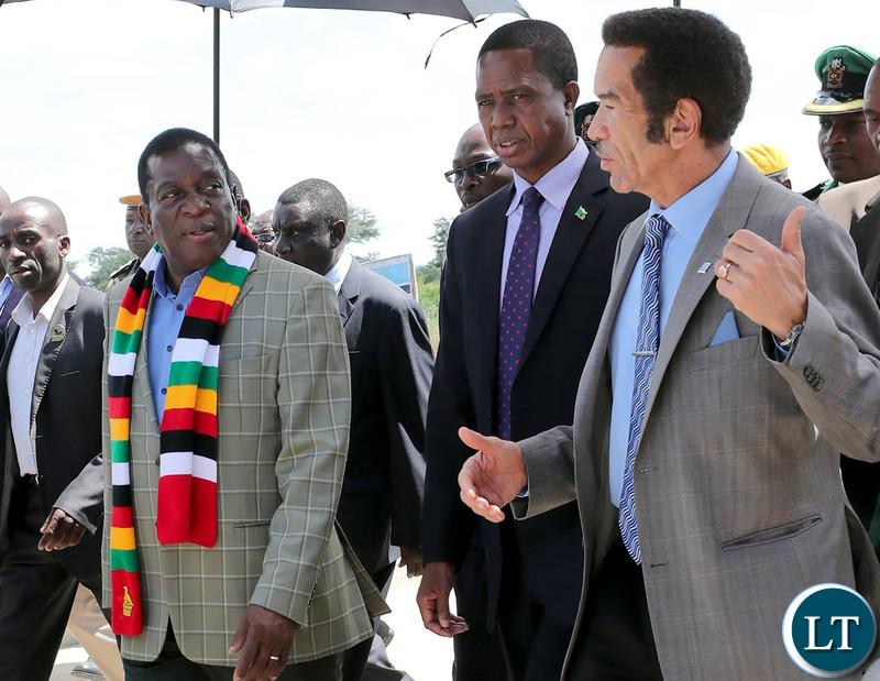 President Edgar Chagwa Lungu with Zimbabwean President Emerson Mnangagwa and Botswana President Seretse Khama Ian Khama