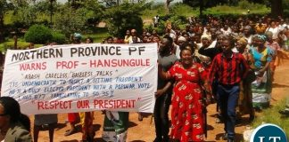 Patriotic Front (PF) in Northern Province protests over demining remarks issued against President Edgar Lungu attributed to Prof. Michelo Hansungule in Kasama today:- Picture by Tizaona Ngoma (ZANIS)