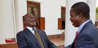 South African President Cyril Ramaphosa. having a light moment with Zambian President Edgar Lungu