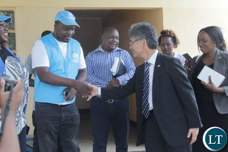 Japan's Ambassador to Zambia, H.E. Hidenobu Sobashima during the Donation