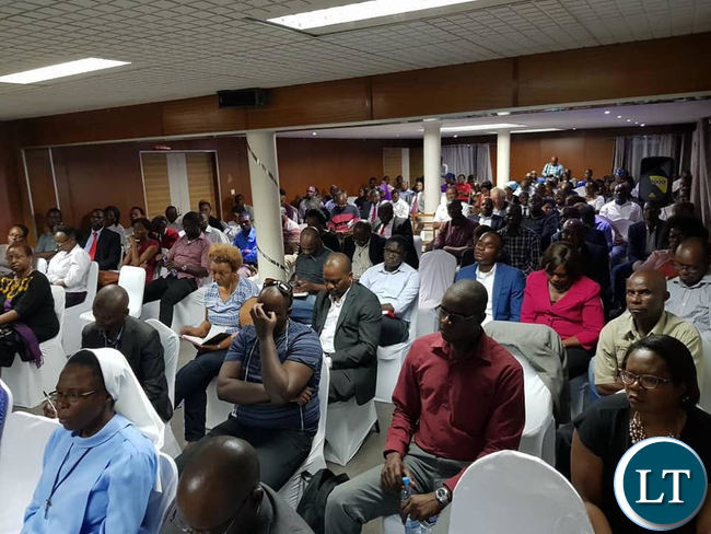 Members of the audience that attended the public discussion organized by the Oasis Forum in Lusaka on Tuesday evening.