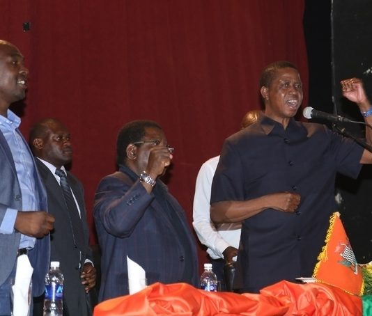 President Edgar Lungu, Copperbelt Minister Jophen Mwakalombe and PF National Chairman Samuel Mukupa during the meeting with PF officials in Ndola