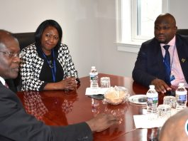 Ministers Alexander Chiteme (right - National Development Planning) and Margaret Mwanakatwe (centre- Minister of Finance) and Zambia's Ambassador to the USA His Excellency Dr. Ngosa Simbyakula at the Zambian Embassy in Washington DC during the Ministers' courtesy call on the Ambassador on 19 April 2018. Mr. Chiteme and Mrs Mwanakatwe are participating in the IMF/World Bank 2018 Spring Meetings in Washington DC, USA. Mr. Chiteme is the Alternate Governor and Mrs Mwanakatwe is Zambia's Governor on the World Bank Board of Governors. PHOTO| CHIBAULA D. SILWAMBA | MNDP