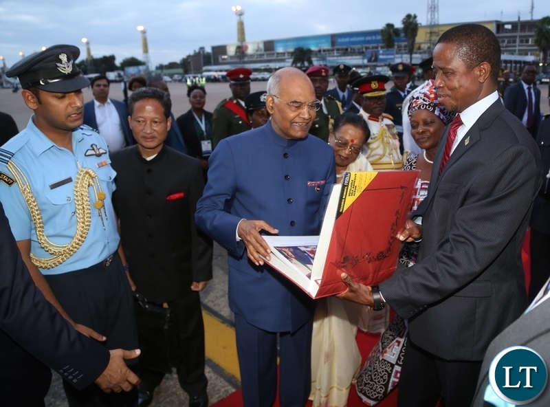 President Lungu handover the Presidential Photo album to President of the Republic of India, Ram Nath Kovind on his visit at Kenneth Kaunda International Airport after concluding his three-day State Visit yesterday 11-04-2018. Picture by ROYD SIBAJENE