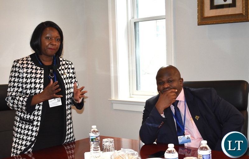 Minister of National Development Planning Alexander Chiteme (right) listening to his Finance counterpart Mrs. Margaraet Mwanakatwe address Zambian diplomats accredited to the USA when they paid a courtesy call on Zambia's Ambassador to the USA His Excellency Dr. Ngosa Simbyakula in Washington DC on 19 April 2018. Mr. Chiteme and the Minister of Finance Mrs Margaret Mwanakatwe are participating in the IMF/World Bank 2018 Spring Meetings in Washington DC, USA. Mr. Chiteme is the Alternate Governor and Mrs Mwanakatwe is Zambia's Governor on the World Bank Board of Governors. PHOTO| CHIBAULA D. SILWAMBA | MNDP