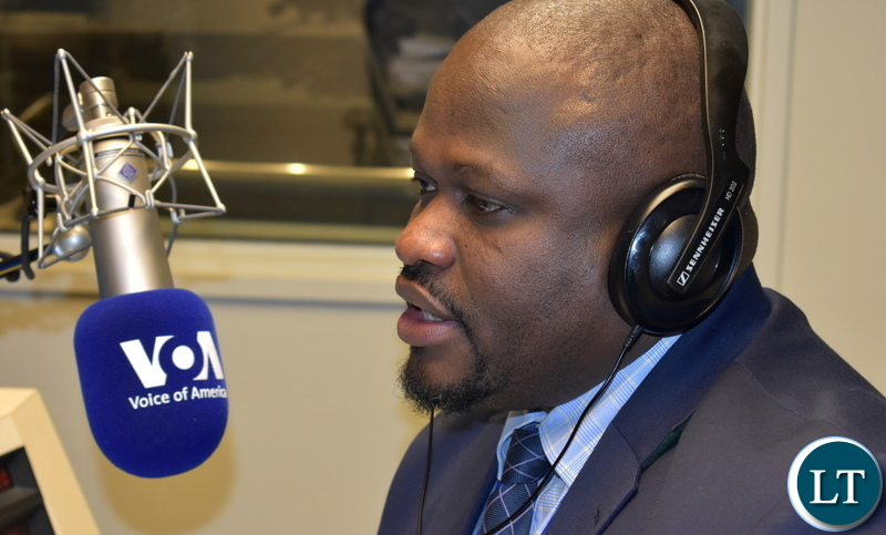 Minister of National Development Planning Alexander Chiteme on Voice of America (VOA) Nightline Africa in Washington DC, USA, on Saturday 21 April 2018. PHOTO | CHIBAULA D. SILWAMBA | MNDP