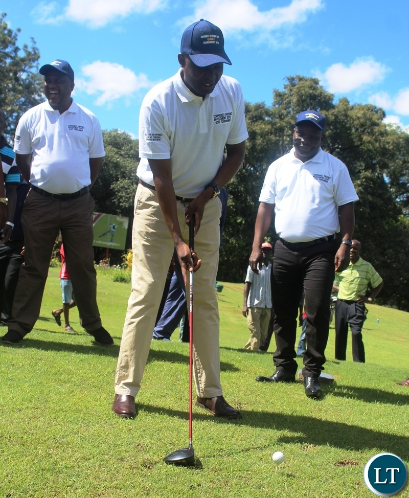 Copperbelt Minister, Japhen Mwakalombe teeing off during the Copperbelt Investment Expo fundraising Golf tournament at Ndola Golf Club- Picture -Frank Ching'ambu/ZANIS