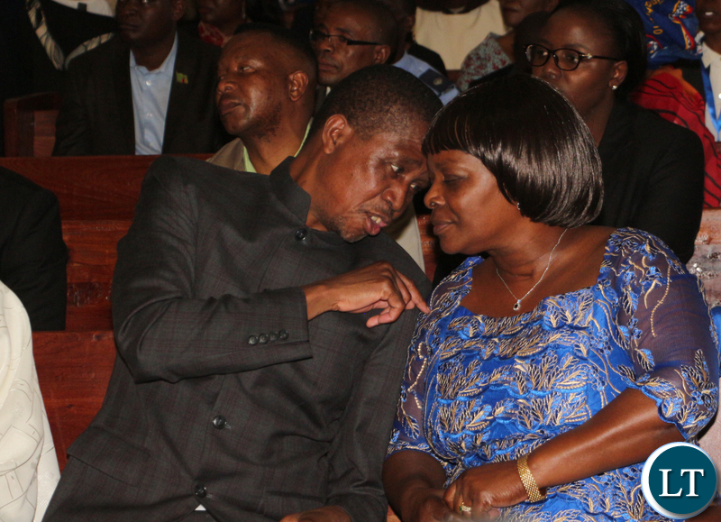 Zambia 1st couple led the political and traditional leaders.