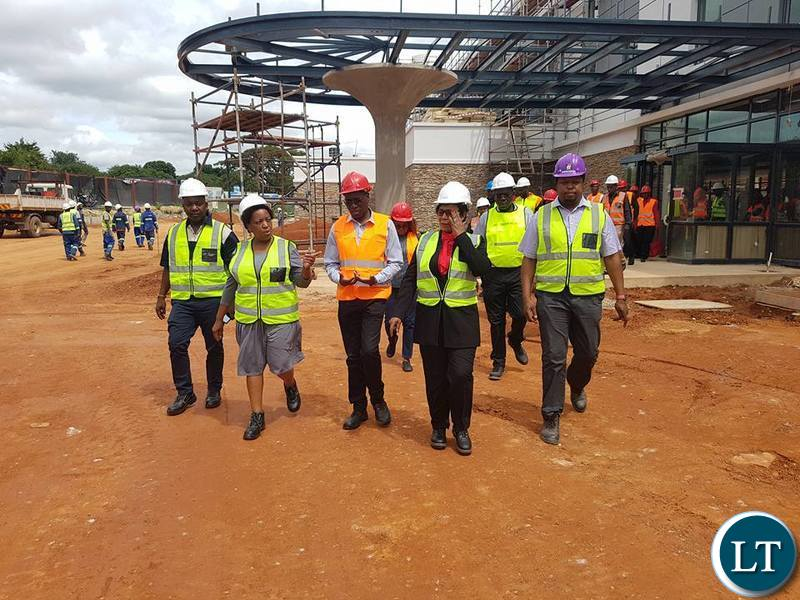 Labour Minister Joyce Nonde touring ECL Mall in Kitwe
