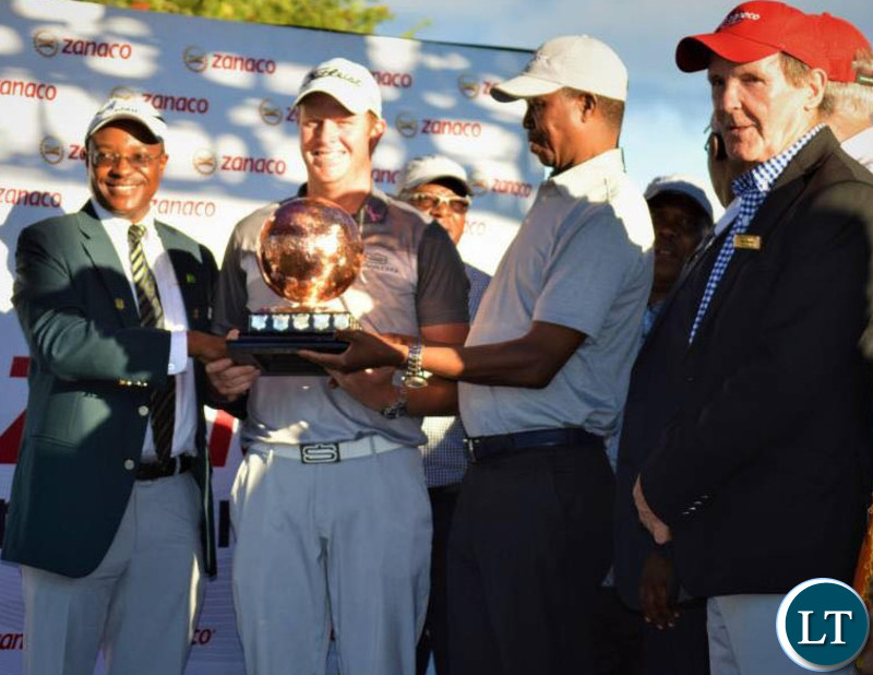 PRESIDENT Edgar Lungu at  the 2018 Zanaco Masters Golf Tournament finals