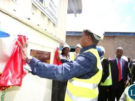 President Edgar Chagwa Lungu unveiling a plaque during the Commissioning of the Global Industries Limited Soya Beans Crushing Plant in Ndola onFriday, April 20,2018-Pictures by THOMAS NSAMA