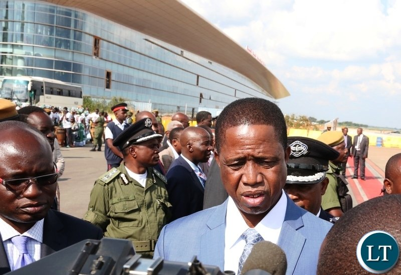 President Edgar Lungu being interviewed by Journalists at Kenneth Kaunda International Airport s shortly before departure for Angola on Monday, 23rd April, 2018, Picture by Thomas Nsama