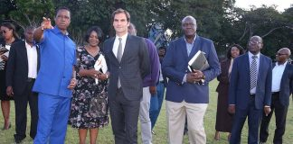 Roger Federer with President Lungu at State House on Sunday