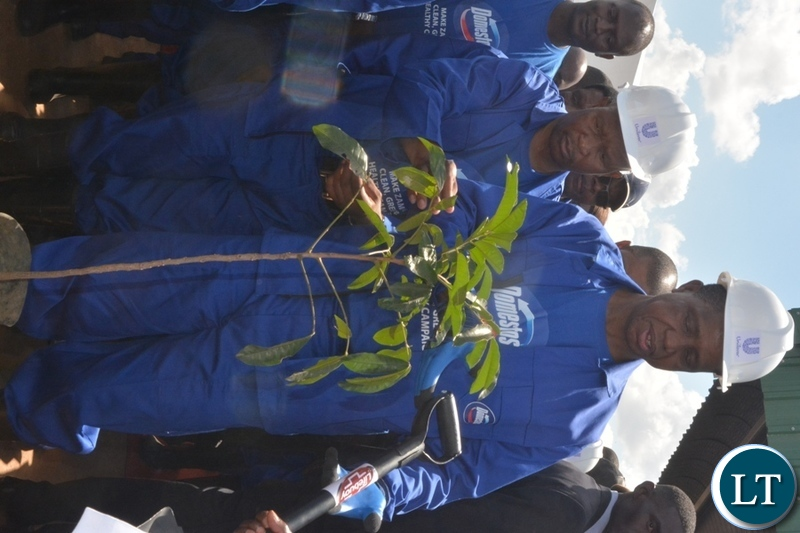 President Edgar Lungu at the re-launch keep Zambia clean Campaign at Soweto market