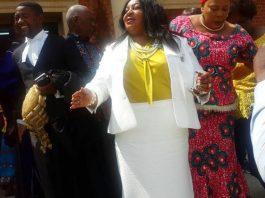 UPND's Doreen Mwamba outside Court today